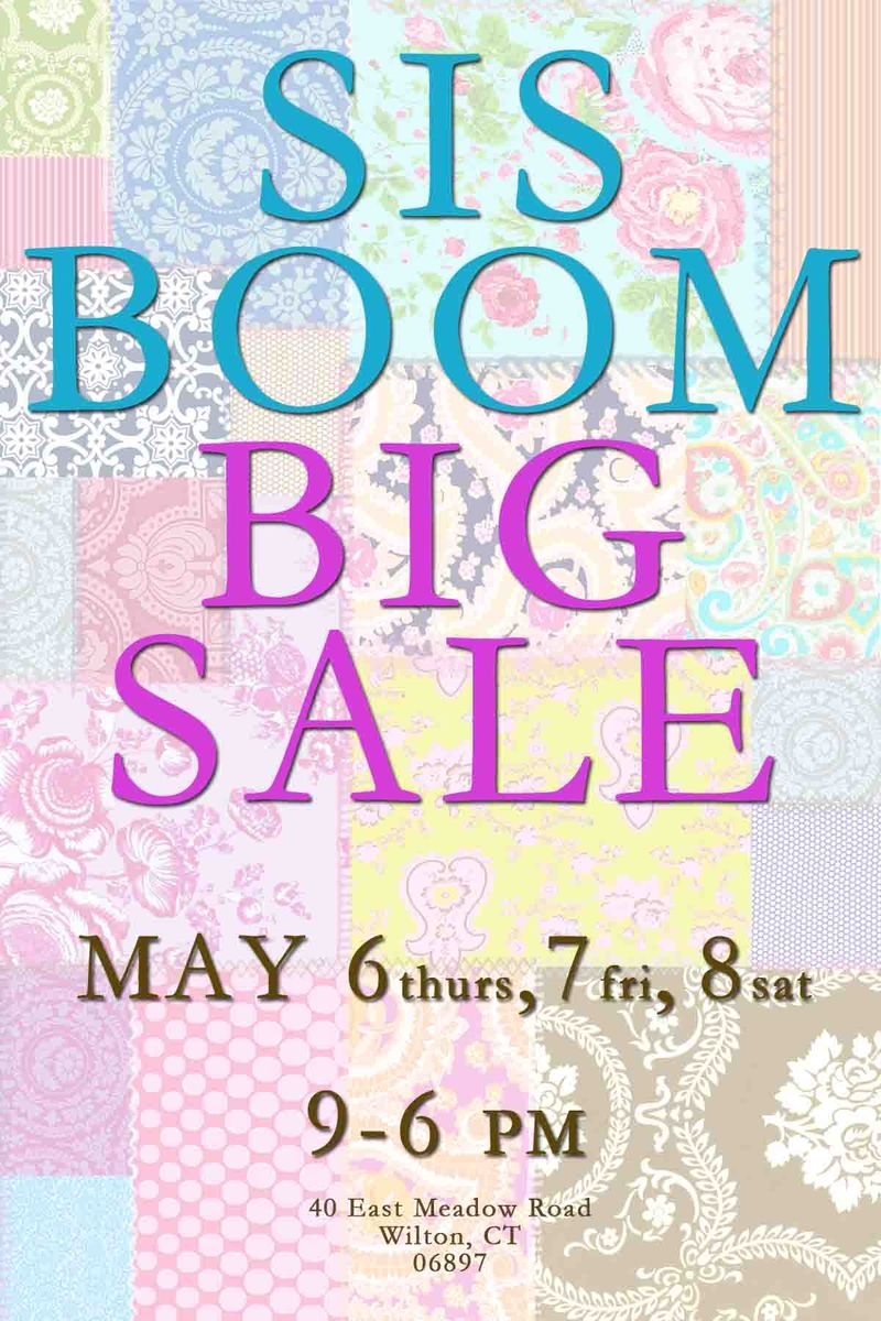 FRONT Sis Boom Sale postcard